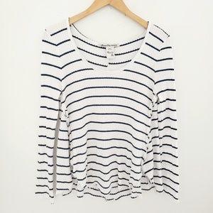 American Rag Blue & White Striped Raw Edge Shirt